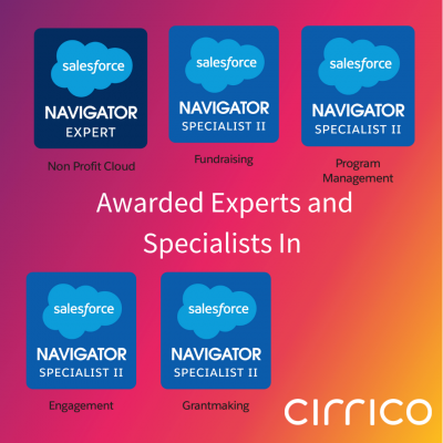 Cirrico Awarded Expert Status in Nonprofit Industry Knowledge By Salesforce's AppExchange